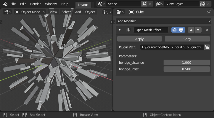 Open Mesh Effect branch (prev  Houdini Engine modifier for Blender