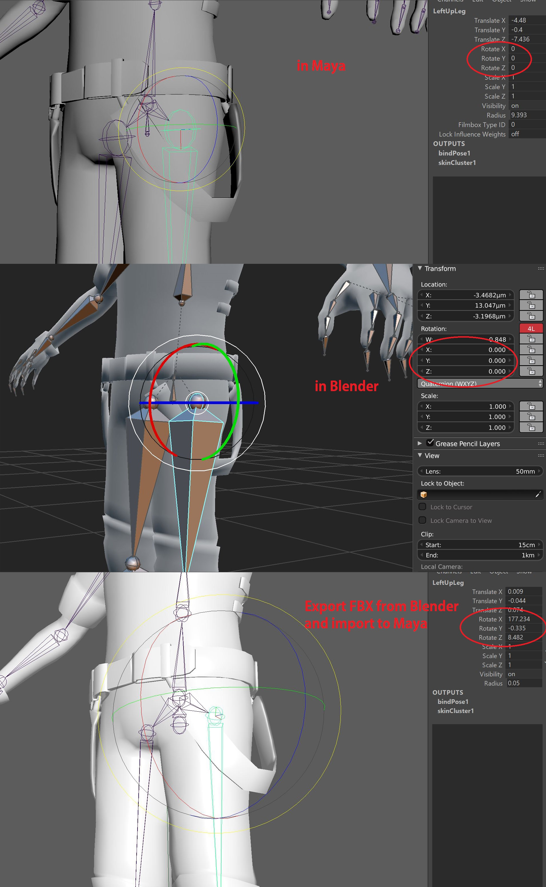 Bone rotation values messed up after import into maya via FBX format