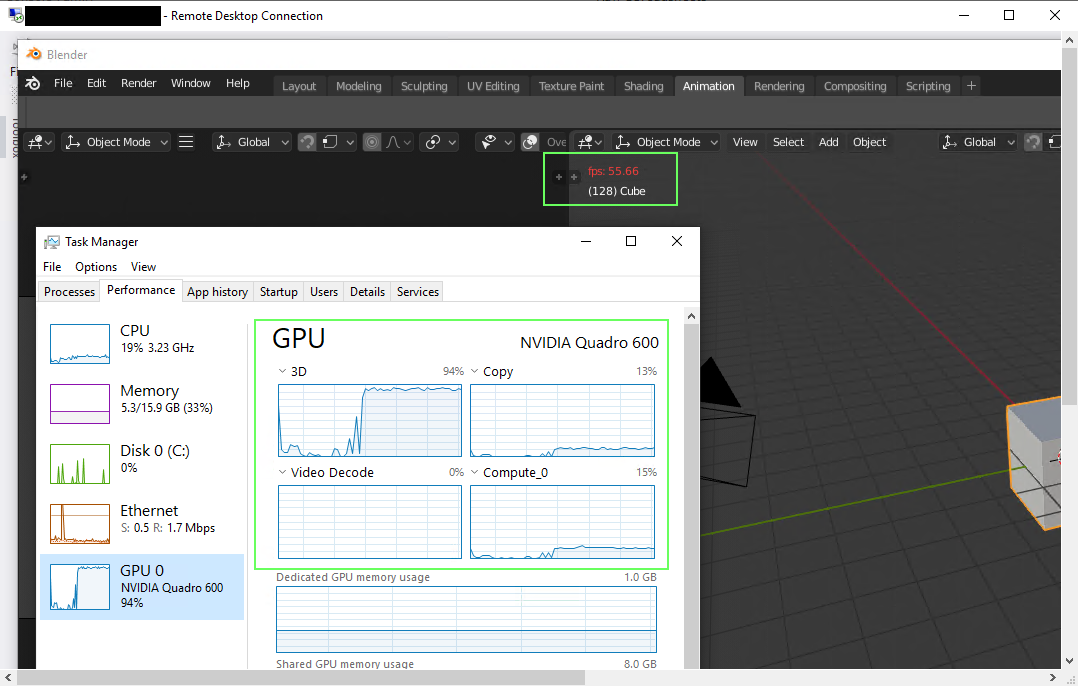 Starting Blender 2 8 in remote desktop session - User